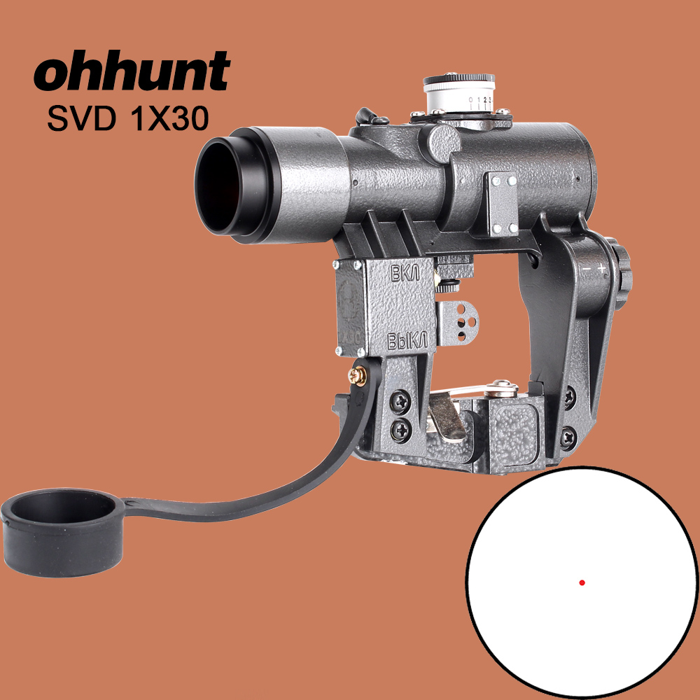 ohhunt Compact Dragunov 1X30 SVD Red Illuminated Hunting Riflescope Tactical Optics Sights fits for Tigr SKS Style Side Mount