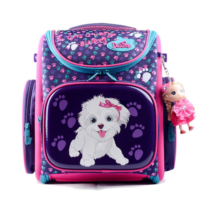 цена на HOT 3D children lovely school bag kid students Free doll waterproof backpack travel cartoon girl large capacity bag child gift