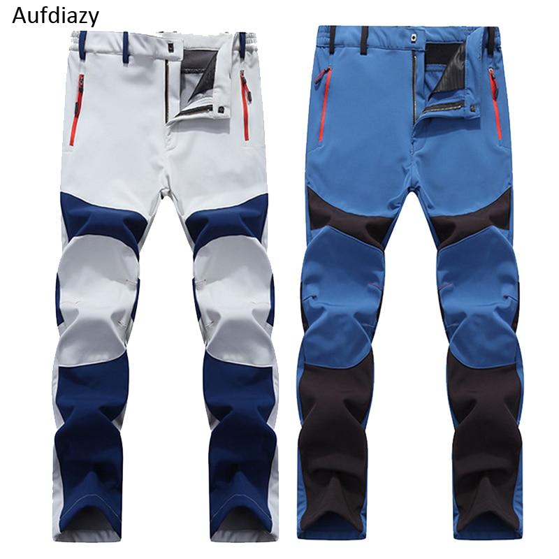купить Aufdiazy Men Winter Softshell Outdoor Ski Pants Warm Fleece Waterproof Trousers Trekking Mountain Climbing Hiking Pants JM027 недорого