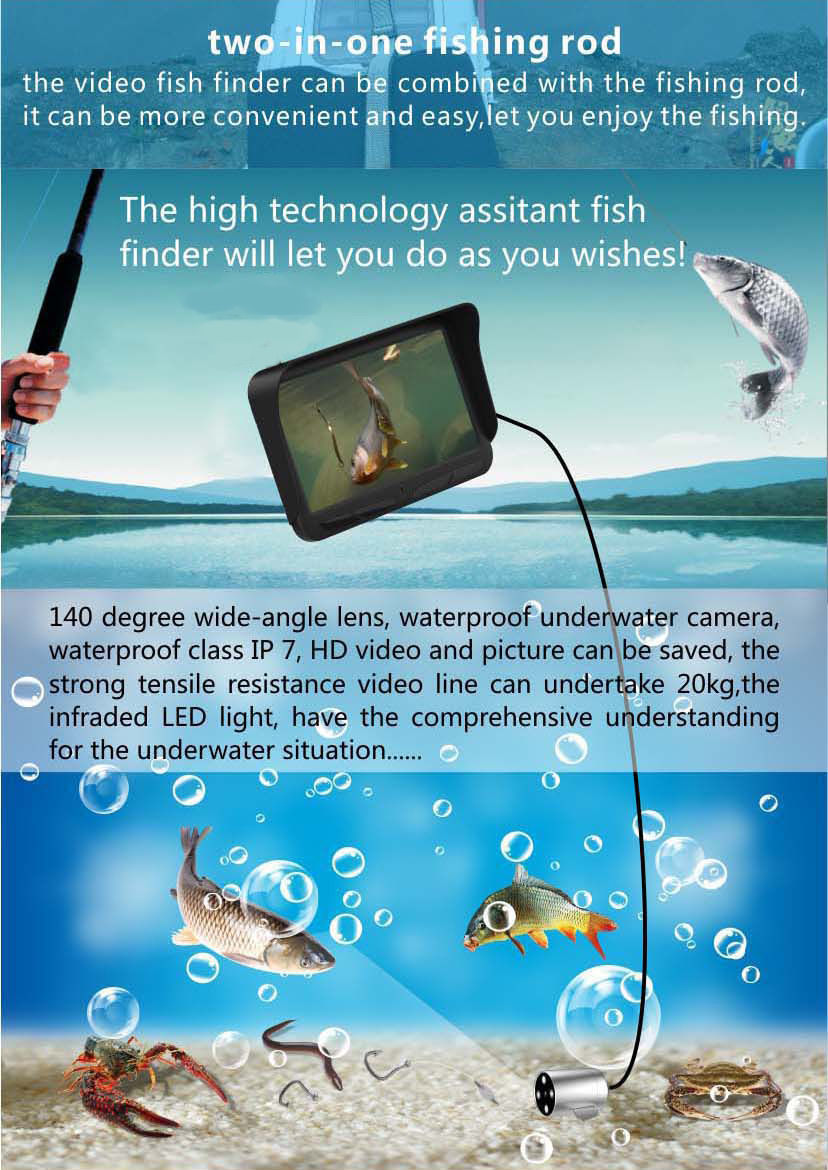HD Underwater Video Fish Finder with 30M 2MP Fishing Camera & 4.3 LCD Monitor 4000mAh Battery Built-in Multi-Language Supported_8