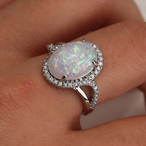 Huitan Luxury Solitaire Ring with Huge Created Fire Opal Prong Setting Halo CZ Pave Fashion Cocktail Party Rings for Women(China)