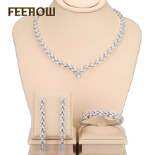FEERW Unique Design Silver Plated Necklace Earring Bracelet Women Jewelry Set Fashion Crystal Leaf Shape Bijoux