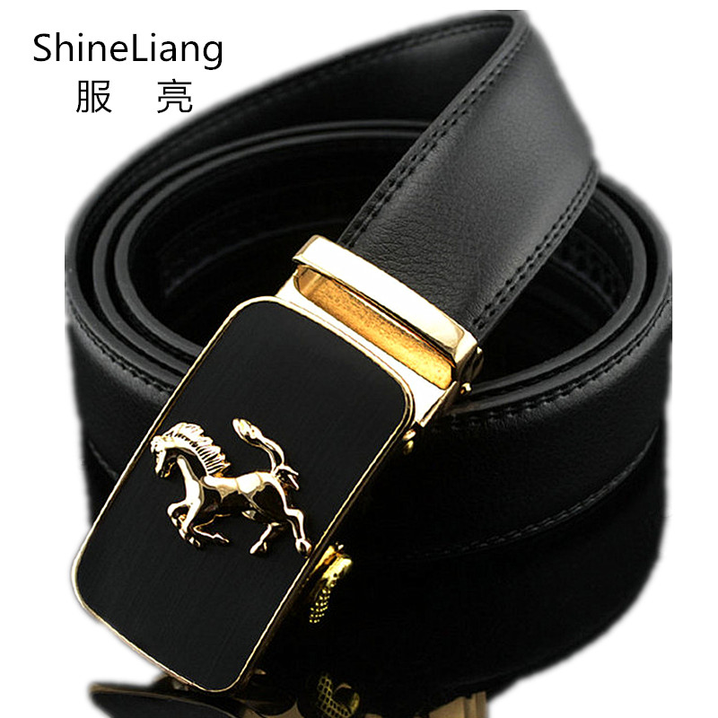 Automatic   belt   for men Gold silver buckle Leather Width 3.5cm Length 110-130cm Designer High quality Fashion brand Male   Belts