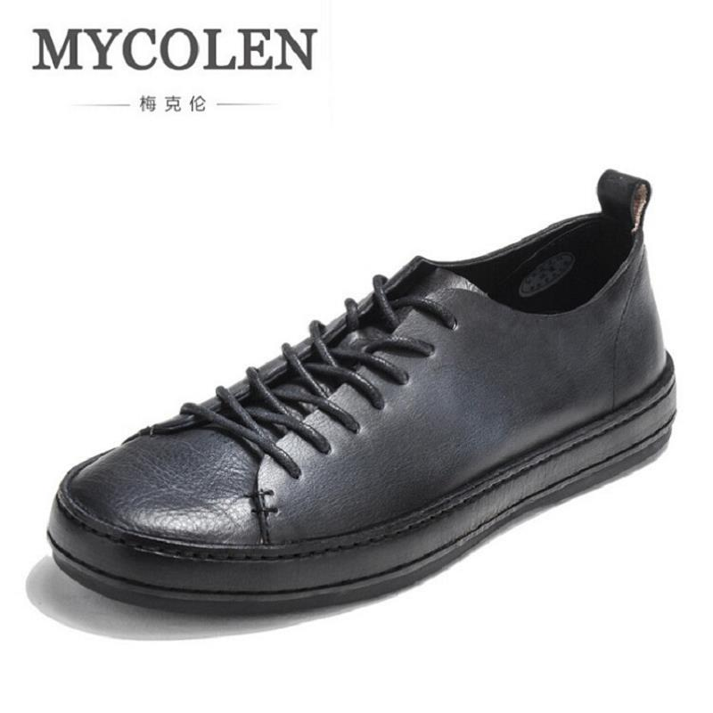 MYCOLEN Brand New Black Retro Style Men Shoes High Quality Men Casual Shoes Men Lace Up Autumn Male Shoes Sapato Masculino Couro mycolen high quality men white leather shoes fashion high top men s casual shoes breathable man lace up brand shoes