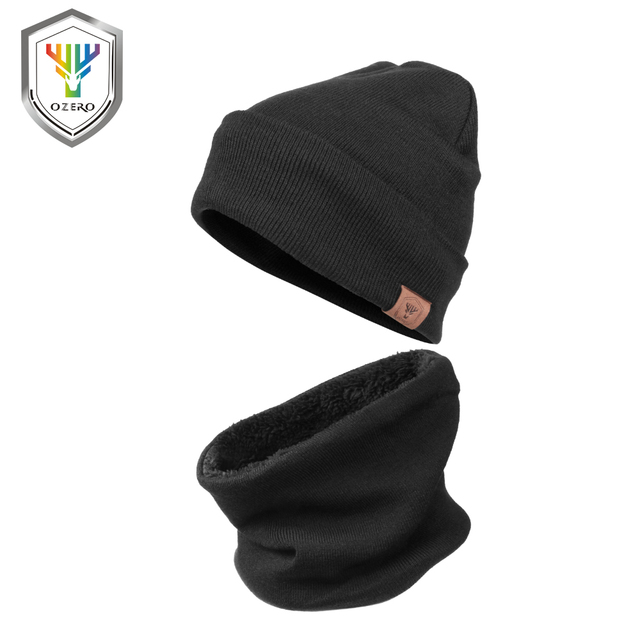 acc3f8106 US $11.95 50% OFF|OZERO Running Caps Winter Knit Hat Beanie Hat Ski Warm  Circle Loop Scarf 2 in 1 Polar Fleece Skull Cap for Men and Women Hats-in  ...