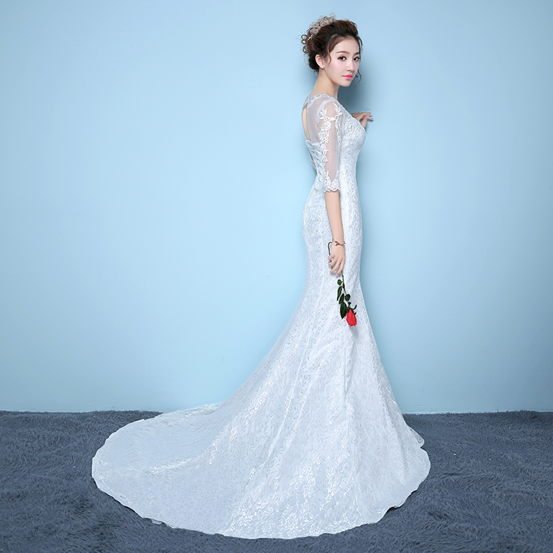 Its Yiiya Off White Wedding Gown Embroidery Flower Pattern Sexy