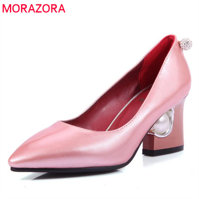 MORAZORA Wedding Party Shoes Women Shallow Pointed Toe High Heels Big Size 34 48
