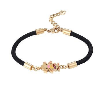 New Jewelery Adjustable Size Cute Boy And Girl Shape Woman Bracelet Stainless Steel Lucite Gold Colour Charm Pulseras For Woman