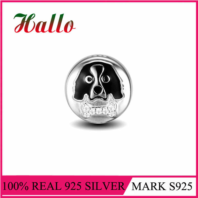 925 Sterling Silver Round Animal Dog Enamel & Clear CZ Charms Bead Fit Brand Bracelets & Necklaces Fine Jewelry