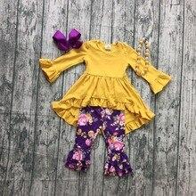 Recién llegado PRIMAVERA/invierno trajes con pantalón para niñas mostaza púrpura floral ropa para niños vestido con volantes boutique accesorios de partido