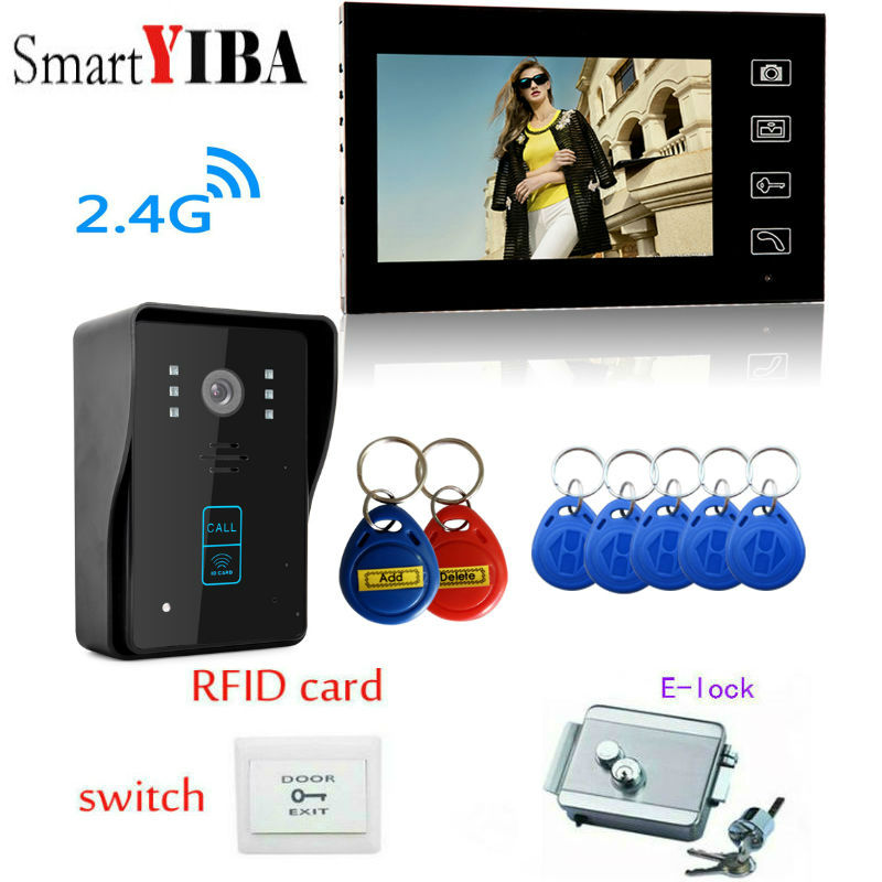 SmartYIBA wireless video intercom doorbell camera system 7 inches 2.4 g wireless camera  ...