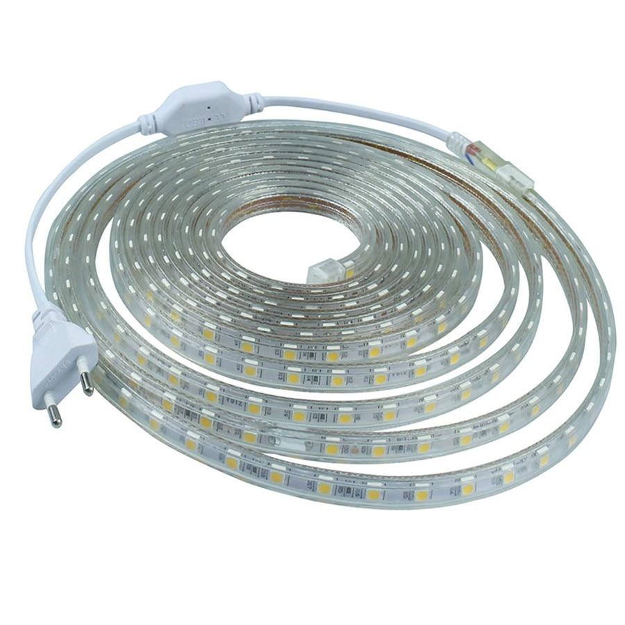 220v smd 5050 flexible led strip light 1m 2m 3m 4m 5m 6m 7m 8m 9m 10m 15m 20m power plug 60leds. Black Bedroom Furniture Sets. Home Design Ideas