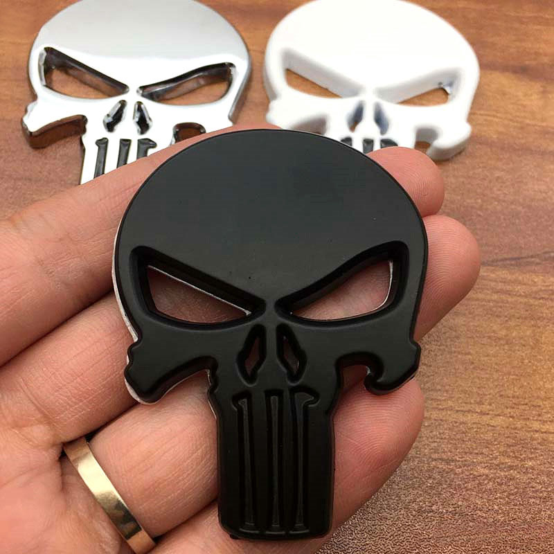 3D Metal Punisher Car Stickers Skull Motorcycle Body Decals Truck Emblem Badge Auto Accessories