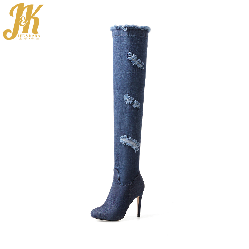 JK High Heels Women Boots Denim Over The Knee Round Toe Thin Heels Ripped Zipper Footwear Spring Holed Fashion Ladies Shoes gladiator shoes denim thigh high boots women boots 2017 winter shoes over the knee fashion pointed toe thin heels mixed colors