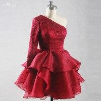 RSE815片方の肩袖ウエディングドレスショート赤ふくらんドレスオーガンジーフリル新しい年のカクテルドレ