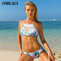 OMKAGI Brand White Lace Patchwork Bikinis Women Leaf Print High Neck Bandage Bikini Set Push Up