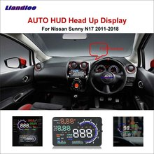 Liandlee Car Head Up Display HUD For Nissan Sunny N17 2011-2018  Digital Projector Screen OBD Mileage Fuel Consumption Detector
