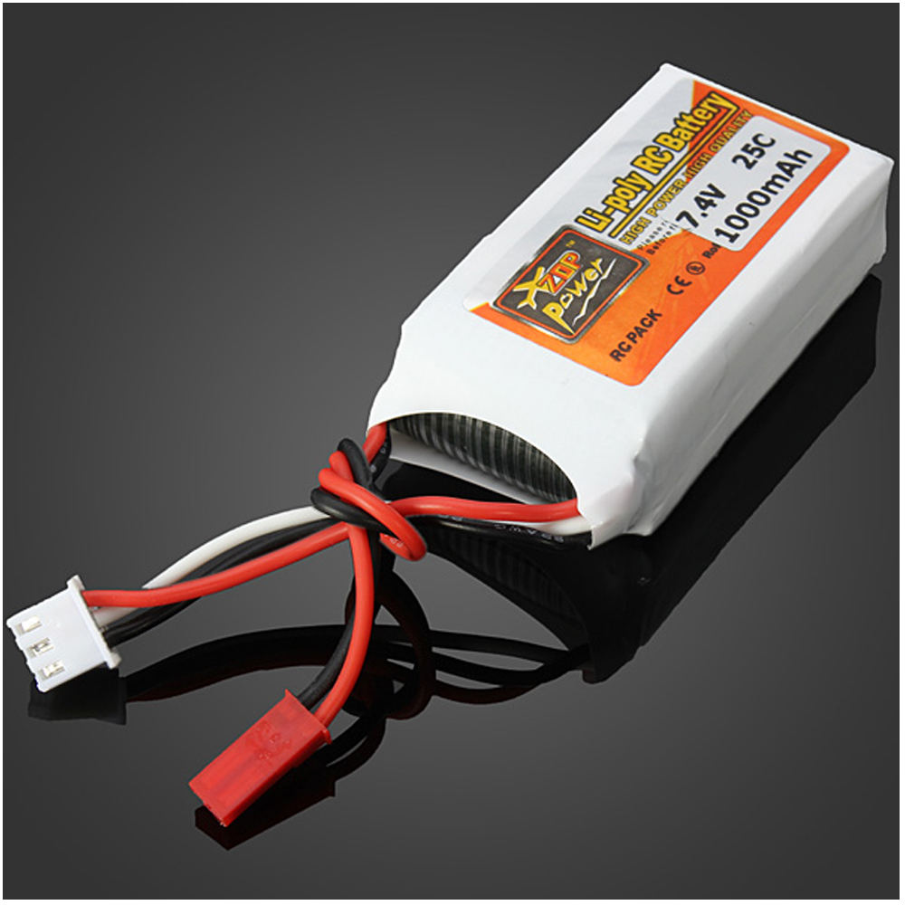 1pcs ZOP Power LiPo Battery 7.4V 1000mAh 25C JST Plug For RC Quadcopter Drone Helicopter Car Airplane