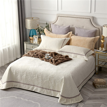 Europe Jacquard Quilted Fleece Thick Bedspread Bed Cover set Queen size 3Pcs Bed spread set Pillow shams Brown Grey Beige color