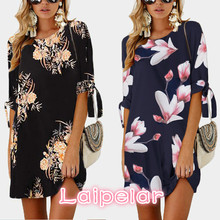 купить Women Short Beach Casual Pencil Shirt Dress Female 2018 Summer Black Print Loose Elegant Mini Party Dresses Vestidos Laipelar по цене 716.58 рублей