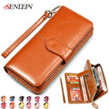 2017 Brand 100% Oil Wax Cowhide Leather Women Wallets Clutch id Cards Holder Coin Purse Zipper Ladies Leather Wallets Phone Bag