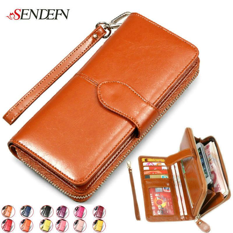 SENDEFN Cowhide Split Leather Women Wallet Large Long Credit Card Holder Luxury Clutch Coin Purse Female Woman Wallet for iPhone