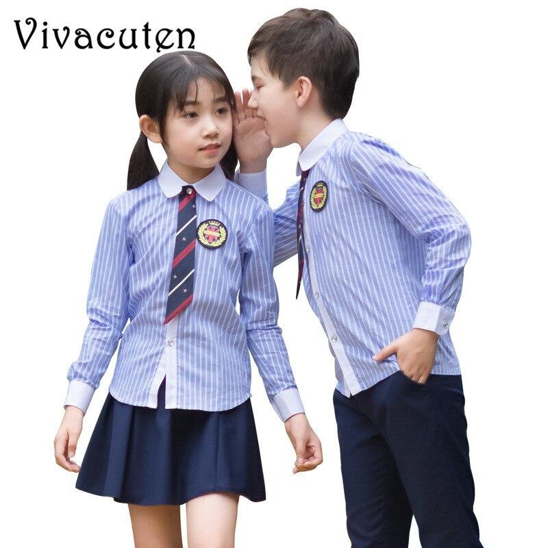Girls Boys School Uniforms Striped Shirt Pants Tutu Skirt Tie Clothing Set Kids Formal Perform Suit Birthday Party Costume F117