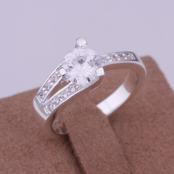 Free Shipping 925 jewelry silver plated Jewelry Ring Fine Fashion Silver Zircon