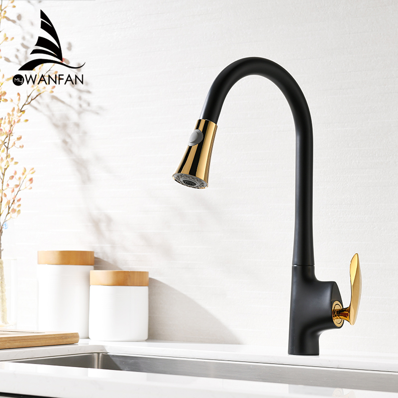 Kitchen Faucets Gold Single Handle Pull Out Kitchen Tap Single Hole Handle Swivel 360 Degree Water Mixer Tap Mixer Tap 0160K