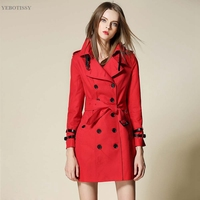 2017 Winter Fashion Top Quality Pure Color Trench Coat For Women Brand Women S Windbreaker Female