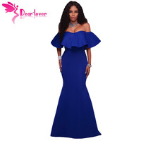 Dear Lover Mermaid Dress Off Shoulder Sexy Formal Gowns Royal Blue Ruffle Ponti Maxi Party Dress