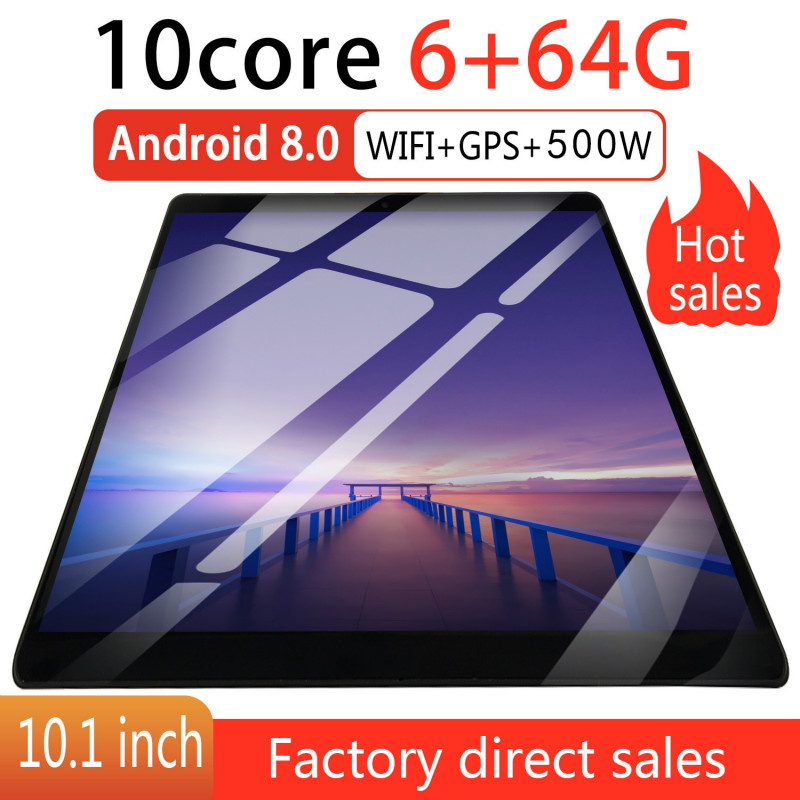 10 Inch Octa Core 6G+64GB Android 8.0 WiFi Tablet PC Dual SIM Dual Camera  Bluetooth MTK8752 3G WiFi Call Phone Tablet  Gifts
