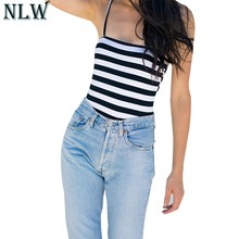 NLW White Black Strap Bodysuit Backless Summer Overalls 2018 Women Sexy Ropmer Beach Casual Jumpsuit Khaki Pink Knitted Coverall(China)