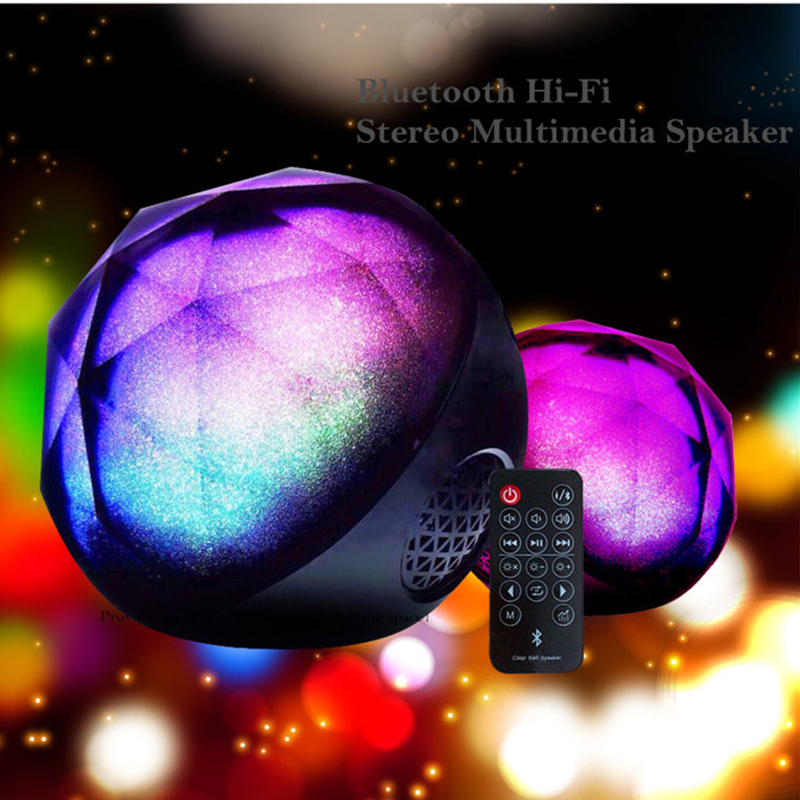 LED Light Crystal Ball Bluetooth Speaker Night Light USB MP3 Player Remote Control Hands-free Calling AUX Mode TF Card LED Lamp vontar bt001 fashion wireless speaker led touch control colorful night light hands free aux and portable bluetooth speaker