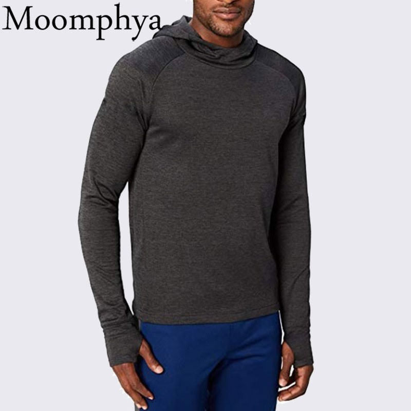 Moomphya Stylish Hip Hop Men Hoodies Thumb Hole Cuffs Hoodie Men Streetwear Hooded Sweatshirts Men Slim Tracksuit Coat Hoodies