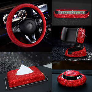 Red Rhinestone Car Interior Accessories for Women Diamond Steering Wheel Cover Crystal Car Mount Holder Keychain Tissue Box Deco(China)