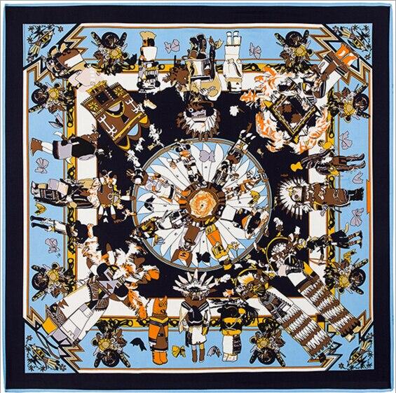 75985ee71e85  POBING  Marque De Luxe 100% Soie Carré Écharpe Hopi Imprimer Foulard  Indien Plume Femelle Soie Foulards de Haute Qualité Dame Foulard