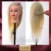 2015 Latest TOP Blonde 90 Real Human Hair Training Head Salon School Mannequin