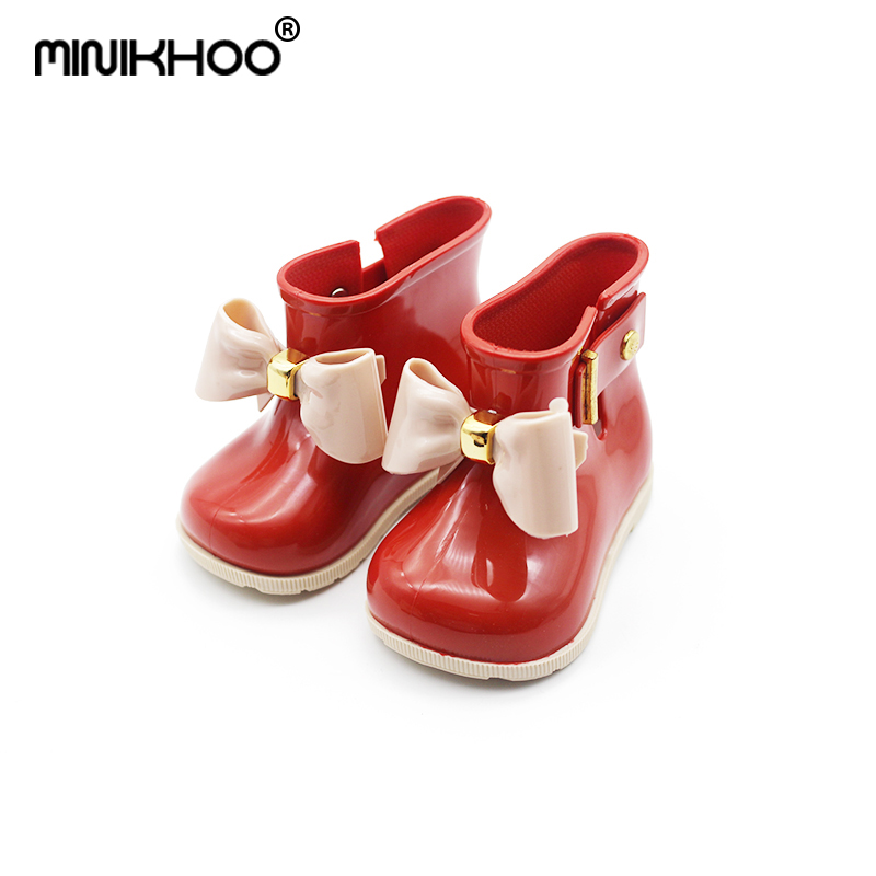 Mini Melissa 2018 Cute Mini Rain Boots Mini SedS Bow Shoes Boots Baby Jelly Shoes Girls Fashion Boots Slip Water Shoes Boots