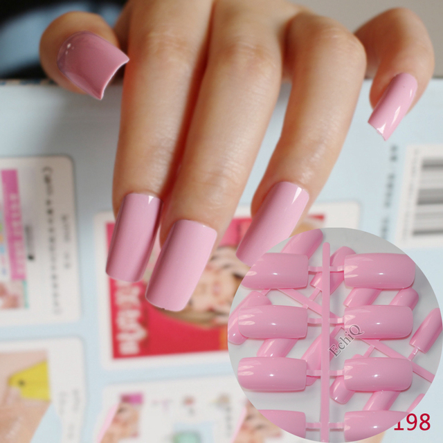 Sweet Candy Flat False Nail Light Pink Art Fake Tips Press On Macaron