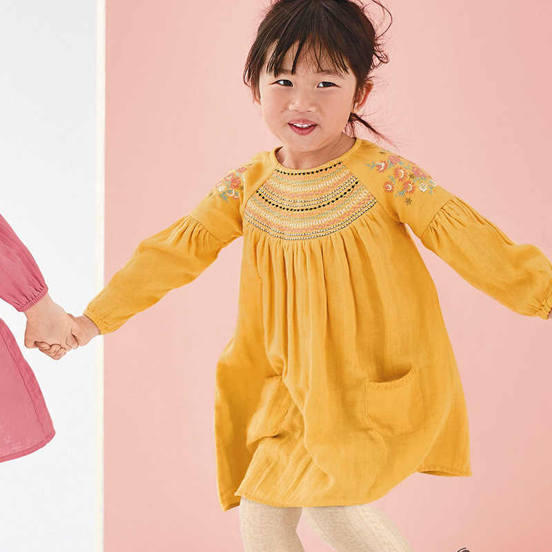 Little maven kids girls fashion brand autumn baby girls clothes yellow dress Cotton toddler girl applique dresses S0504