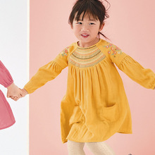 цена Little maven kids girls fashion brand autumn baby girls clothes yellow dress Cotton toddler girl applique dresses S0504