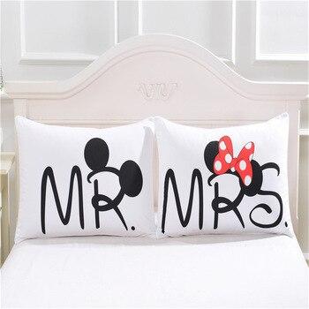 Yastık Kılıfı Sevimli Mickey Mouse Beyaz Çift Severler Hediye Yastık Atmak Yastık Ev Yatak Odası Iki Çift Yastıklar nevresim takımı Çapa
