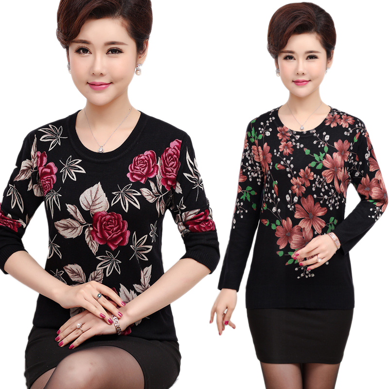 Spring Fall Women Sweater Pullover Plus Size Mother Knitted Top Long Sleeve Slim Jumper High Elastic Warm Soft Knitwear