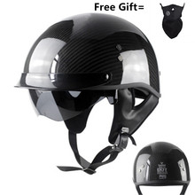 German Pure Carbon Fiber half face motorcycle helmet DOT approved light weight open face helmet with inner sungalsses цена 2017