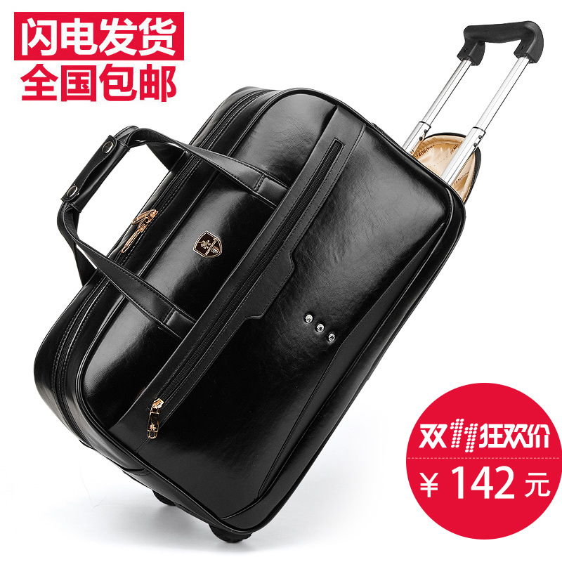 Trolley Bag Waterproof Travel Handbag Luggage High Quality Black Pu Leather Duffle