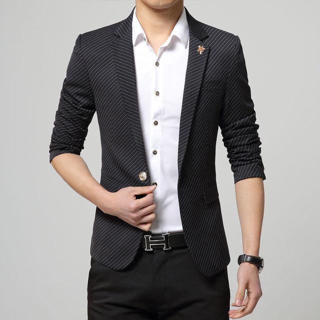 2016 Rayas Clásica los hombres Adelgazan la aptitud Blazers Un Botón macho de Vestir casuales Chaquetas Formales Trajes Abrigos de Trabajo MQ331