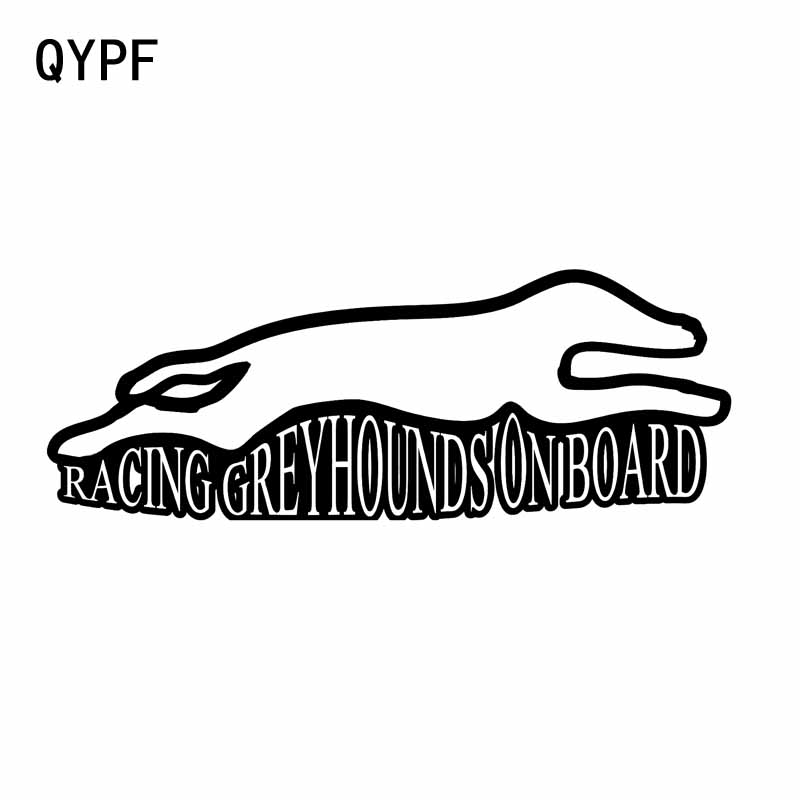 QYPF 16CM*5.7CM RACING GREYHOUNDS ON BOARD CAR VINYL DECAL STICKER Black Sliver C14-0151