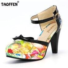 TAOFFEN Plus La Taille 32-48 Femmes Chaussures À Talons Hauts Bout Rond Talons Sandales Femmes de Plate-Forme D'impression Sandales Noir arc Partie Footwears