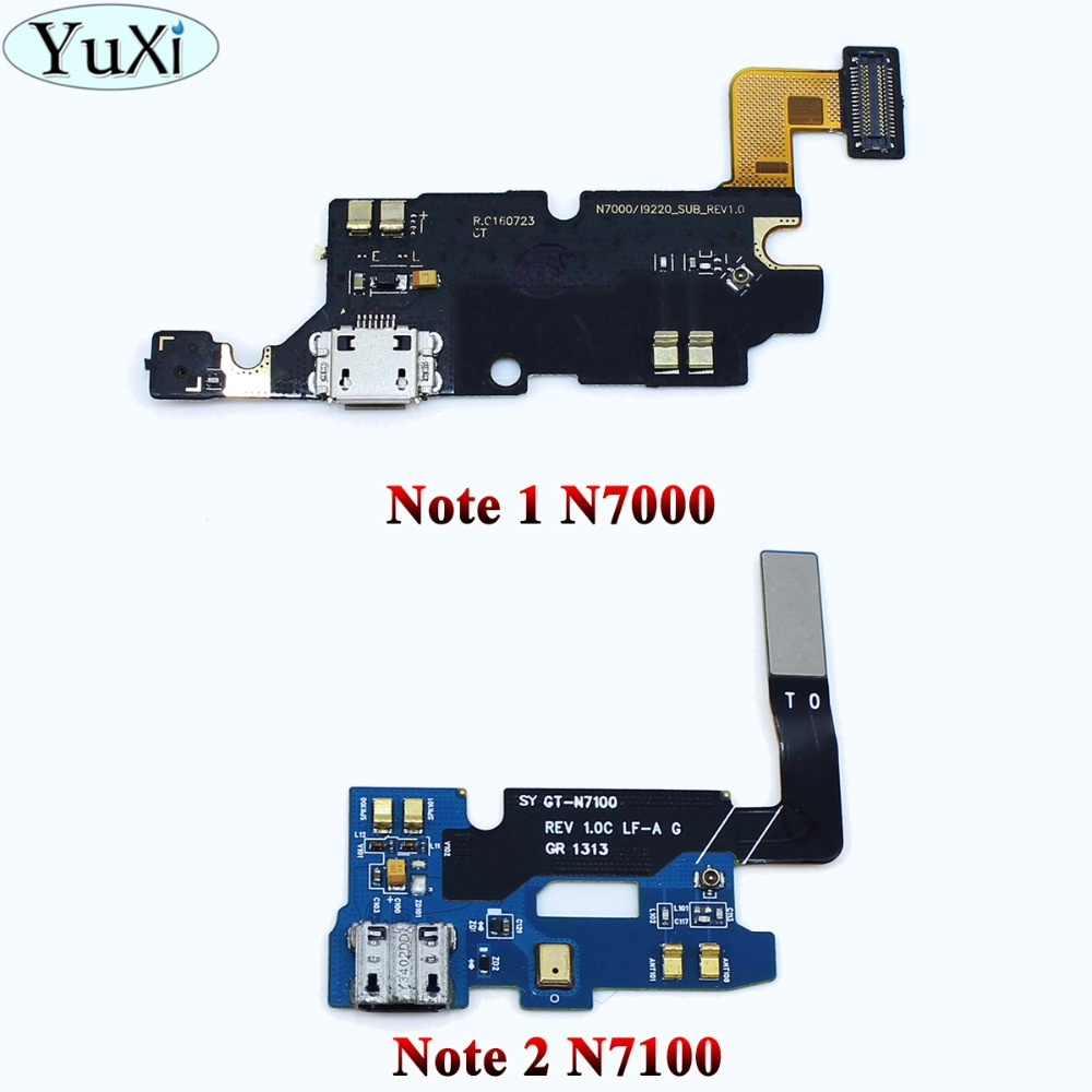 YuXi USB Connector Charging Port Flex Cable For Samsung Galaxy Note 1 N7000 Note 2 N7100 Micro Usb Port Flex Parts Replacement